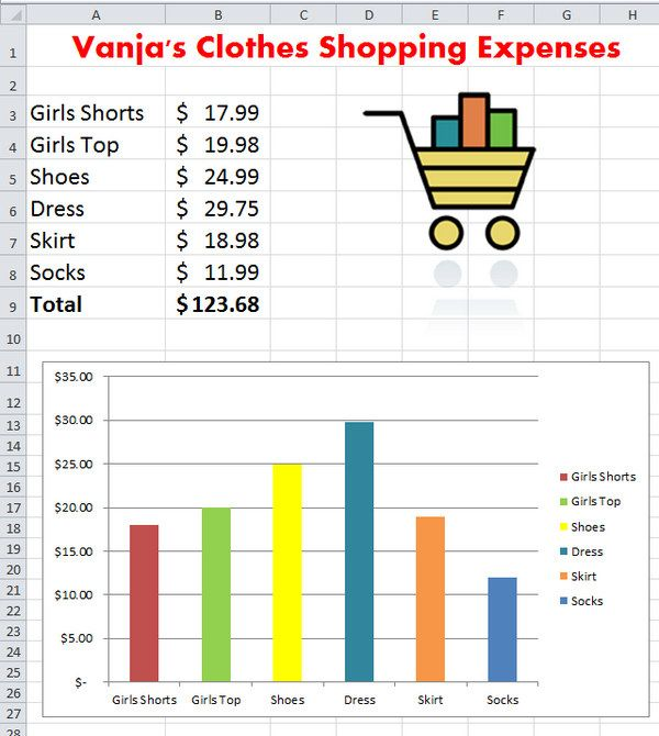 excel expense budget with chart lesson projects to try pinterest