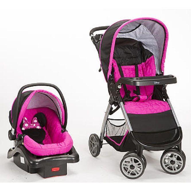 Disney Minnie Pop Baby Gear Bundle Stroller Travel System