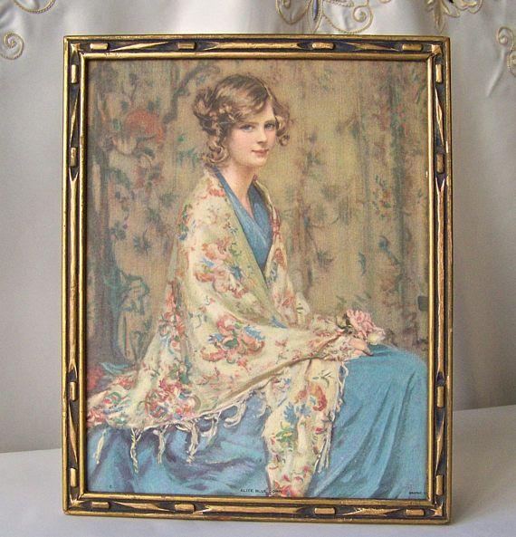 Vintage Alice Blue Gown Lithograph Art Deco Frame 1930s | Pinterest ...