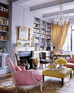 I Like This Pink Chair, The Yellow Ottoman, And The Gold Accent Pieces.