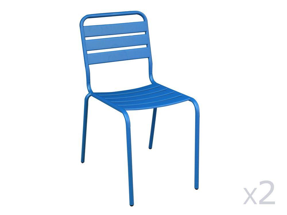 de en 2empilables Chaise de jardinlot HENDAIA acier ikXZTOPu