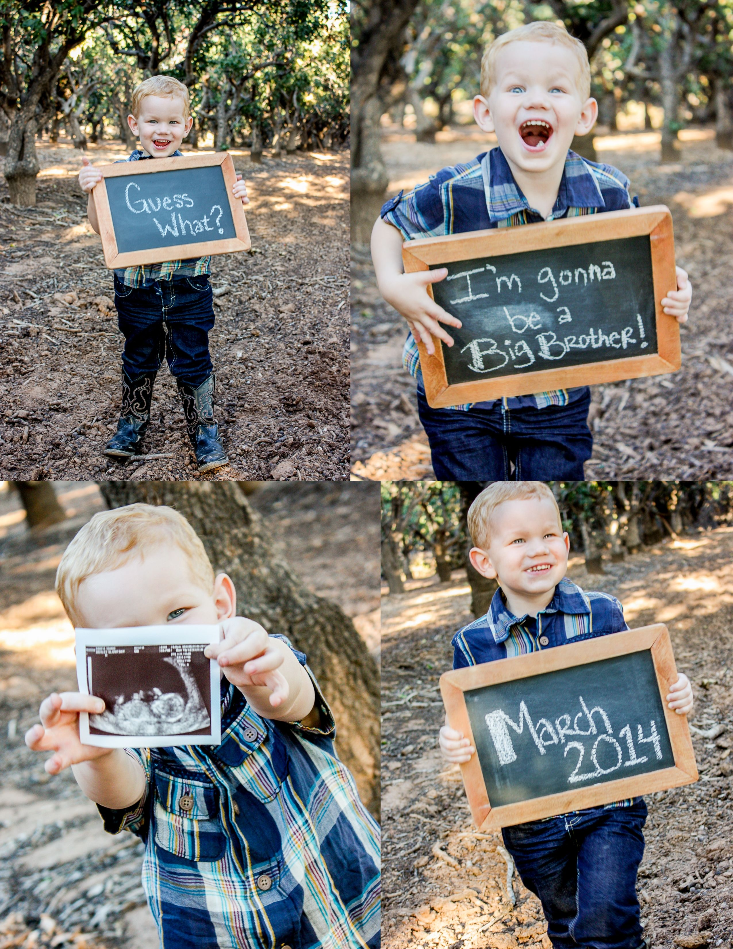 Big brother B got to share his excitement for the new baby – New Baby Announcement Ideas