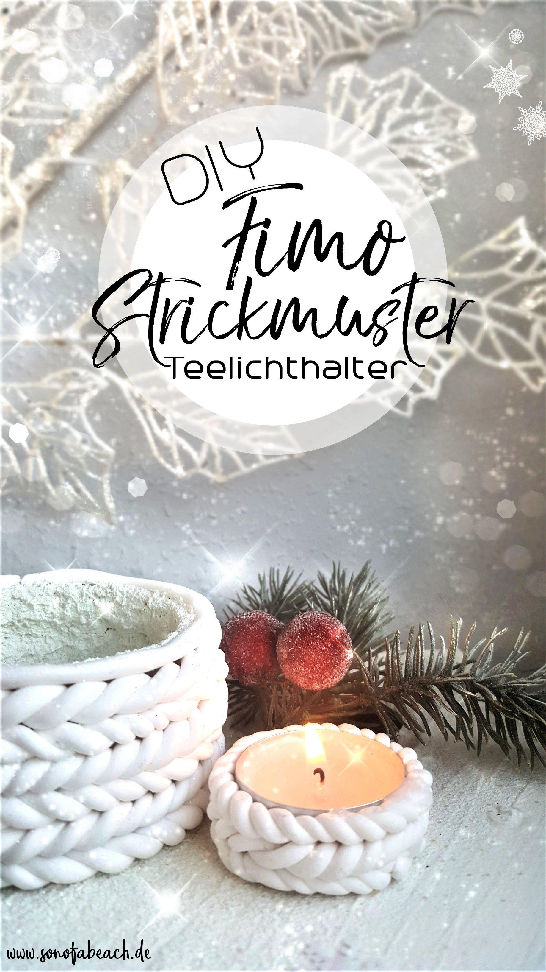 Weihnachtsdeko Geschenke.Weihnachtsdeko Diy Fimo Kerzenhalter In Strick Optik świece