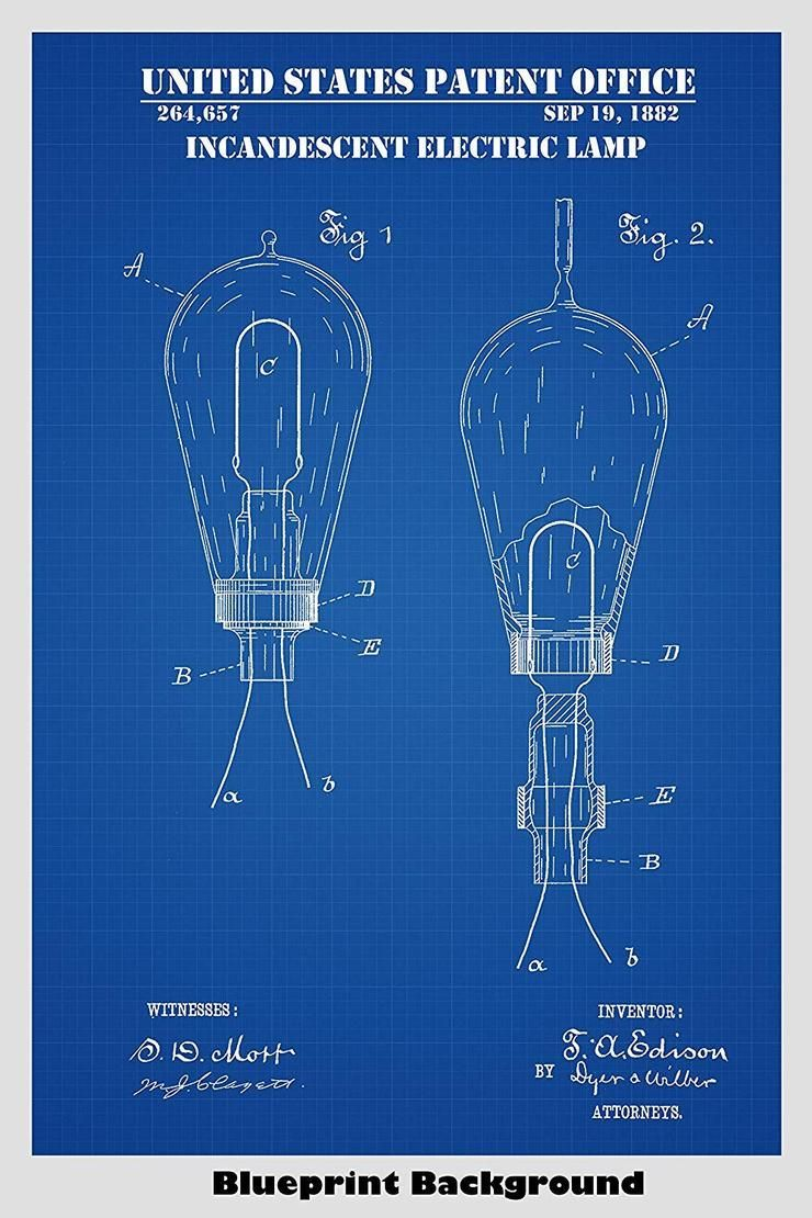 Edison Gluhlampe Gluhbirne Patent Print Art Poster Art Edison Gluhbirne Gluhlampe Pate Edison Lighting Thomas Edison Light Bulb Edison Light Bulbs