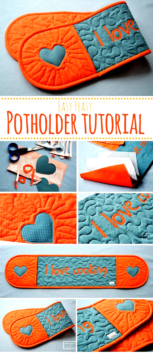 Potholder Tutorial  Sewing projects for beginners Step by step sew tutorial How to sew illustration