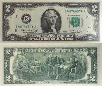 1976 Jefferson 2 Note Uncirculated Dollar Bill Two Dollars Dollar Money