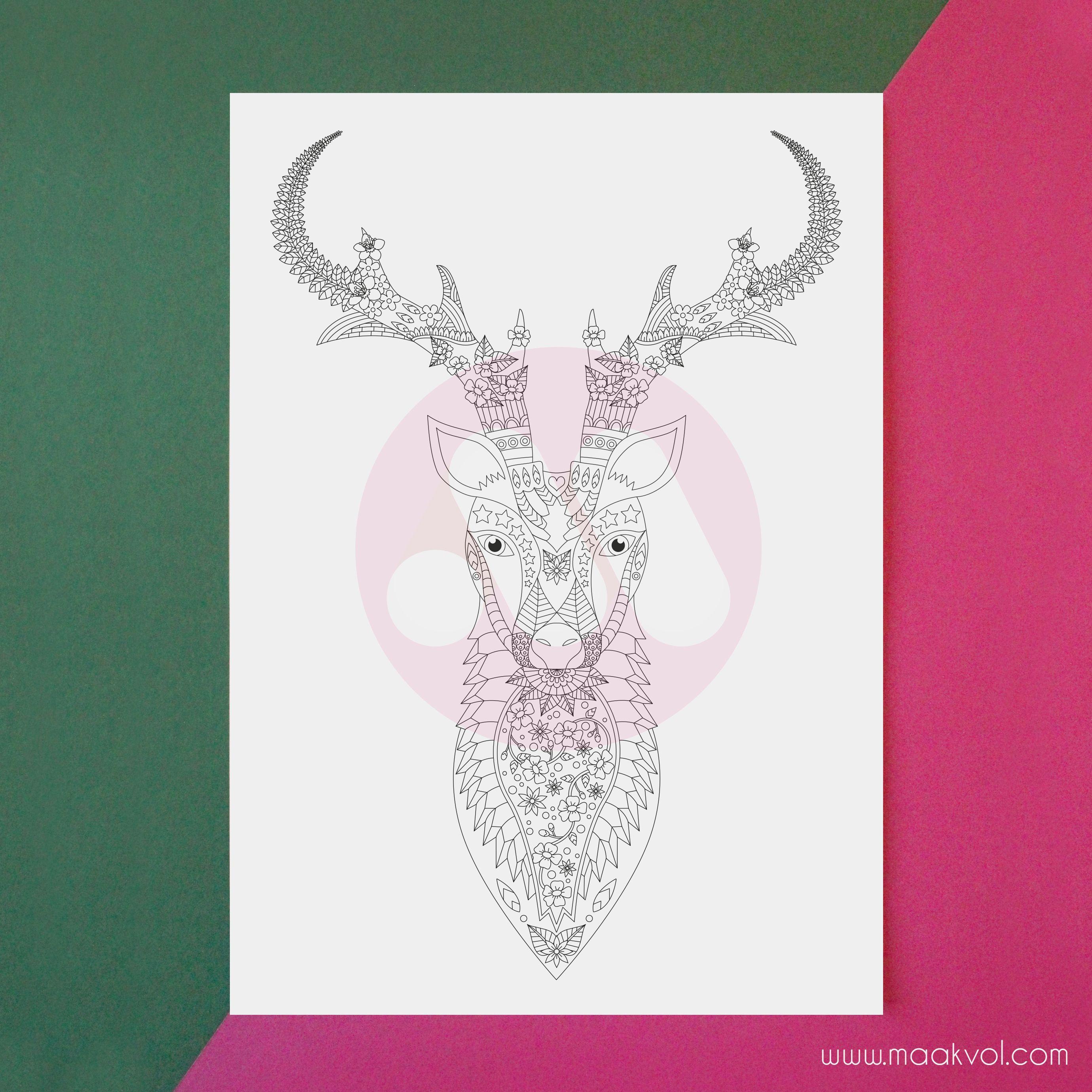 Www Maakvol Com Coloring Page Deer Kleurplaat Hert Grafisch
