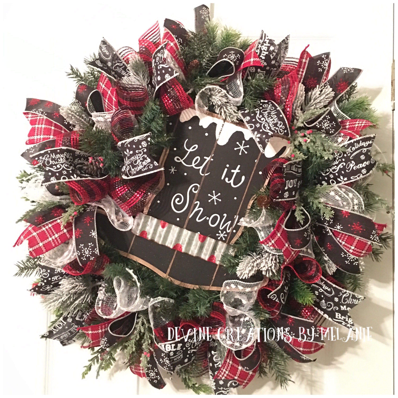 Rustic Christmas Wreath Rustic Winter Wreath Let It Snow Wreath
