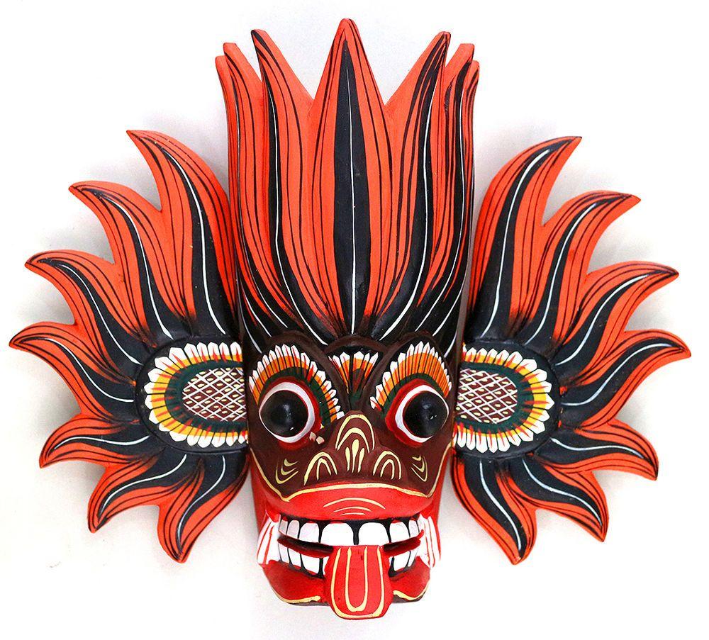 Sri Lanka traditional wall mask Gini raksha kaduru wood