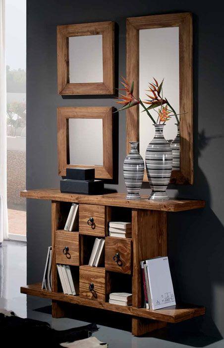 Mueble recibidor rustico venta online muebles auxiliares madera maciza casa pinterest - Mueble recibidor rustico ...