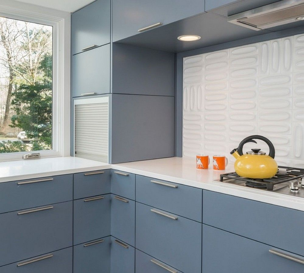 Interior: Midcentury Kitchen With Grey Built In Storage Cabinet Corner Door  And Storage Tabour Door Top Hinge Upper Cabinets Design Ideas: Remodelling  ...