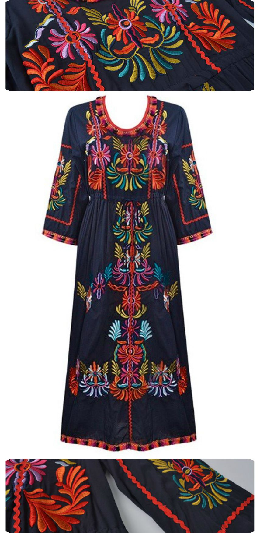 Boho Festive Dress is now available at $79 from Pasaboho. ❤️ This dress exhibit brilliant colours with beautiful embroidered floral patterns. Available for Wholesale and retail. ❤️ :: boho fashion :: gypsy style :: hippie chic :: boho chic :: outfit ideas :: boho clothing :: free spirit :: fashion trend :: embroidered :: flowers :: floral :: lace :: summer :: fabulous :: love :: street style :: fashion style :: boho style :: bohemian :: modern vintage :: embroidery dress :: festival dress