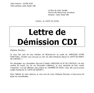 Lettre Demission Sans Preavis Word Doc Word Doc Lettre A
