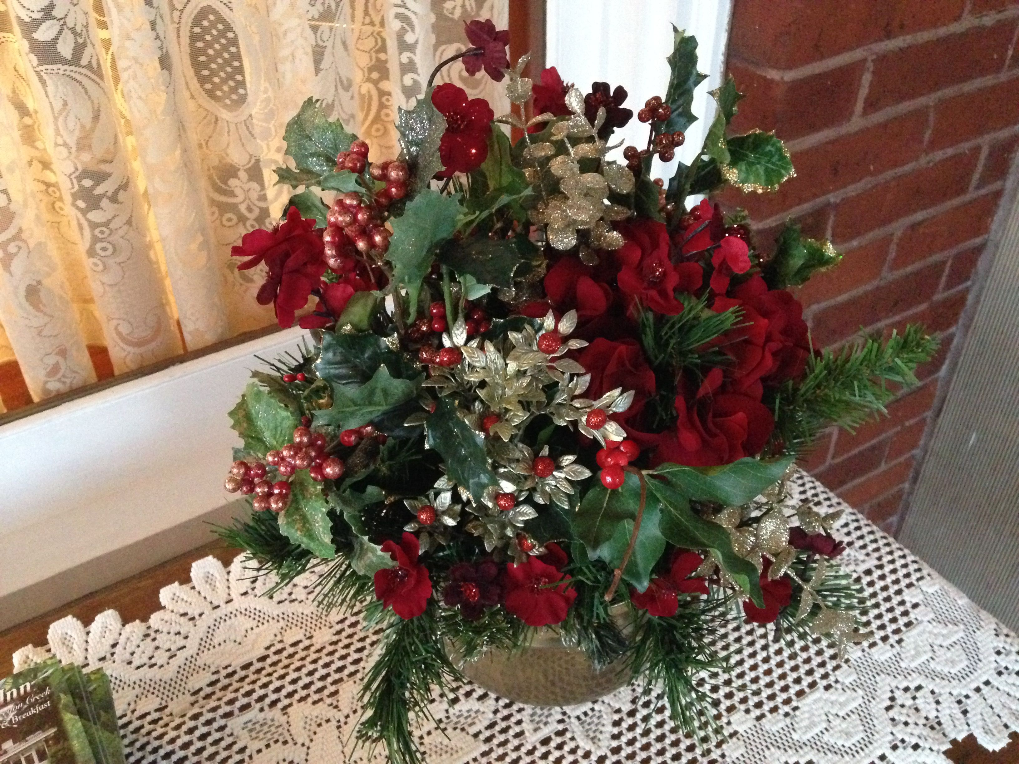 Innkeeper Joy put together this Christmas bouquet with
