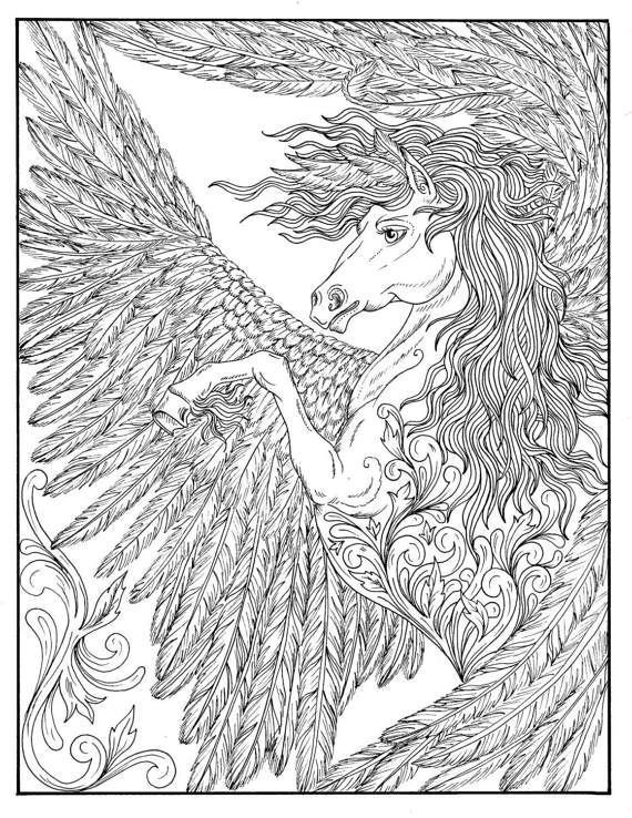 FANTASY COLORING BOOK Dragons Pixies Mushroom People Wolves Gargoyles And So Much More In This Fantasy Themed Coloring Book
