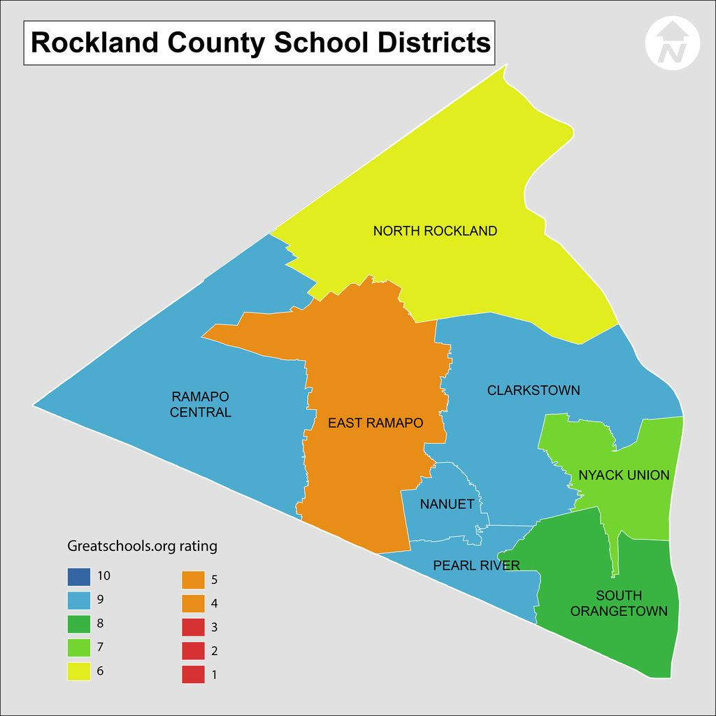 Map of Rockland County NY School districts Area Schools