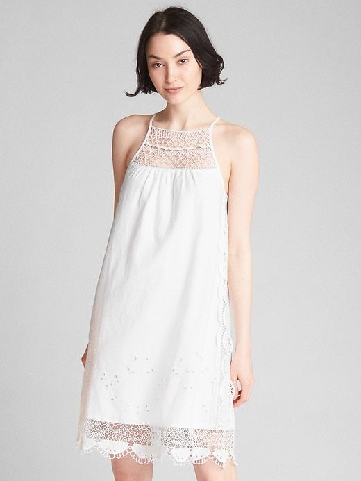 03da77b736e2 Gap Womens Crochet Cami Dress In Linen-Cotton White