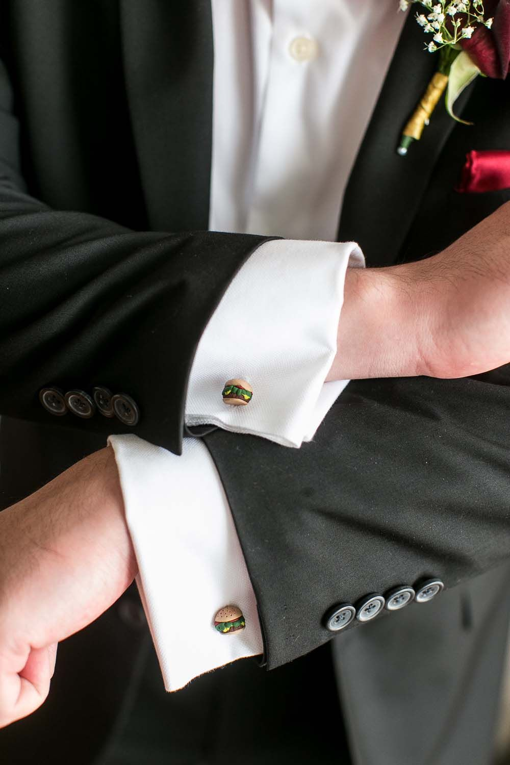 These burger cufflinks are a fun addition to any suit.