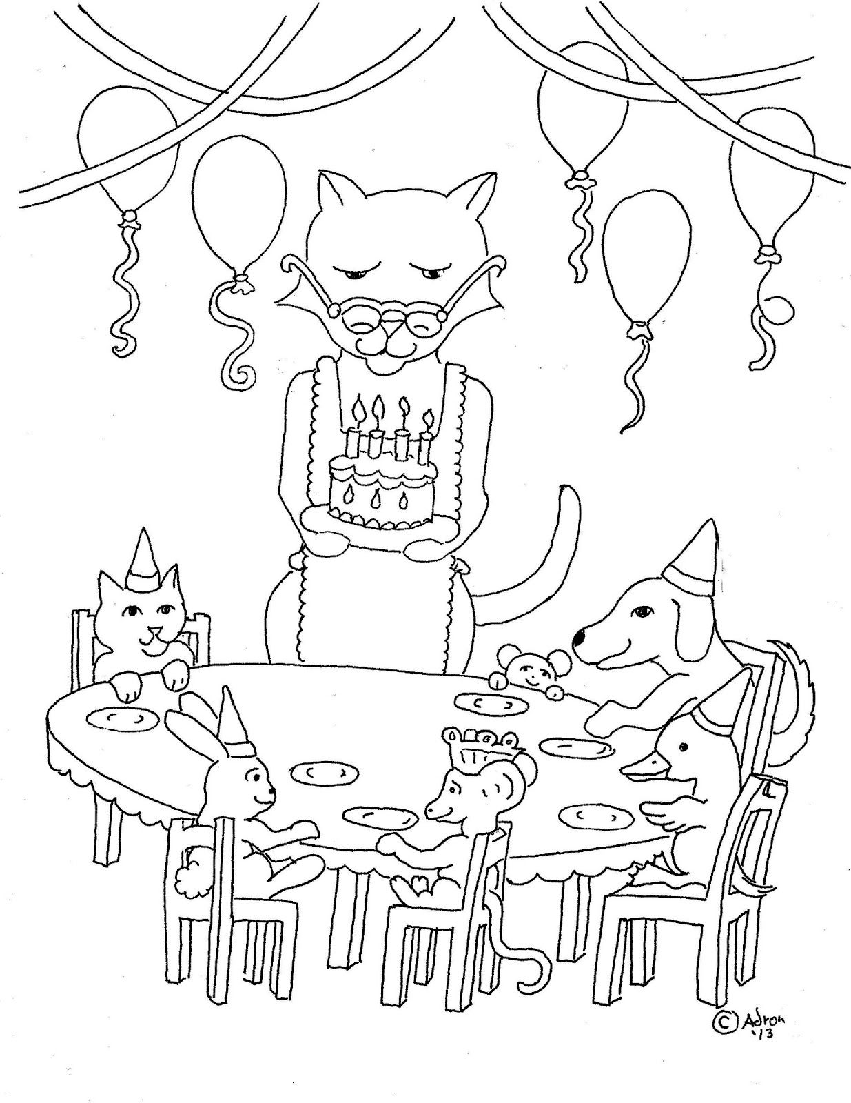 Birthday Party Coloring Pages - NetArt | 1600x1235