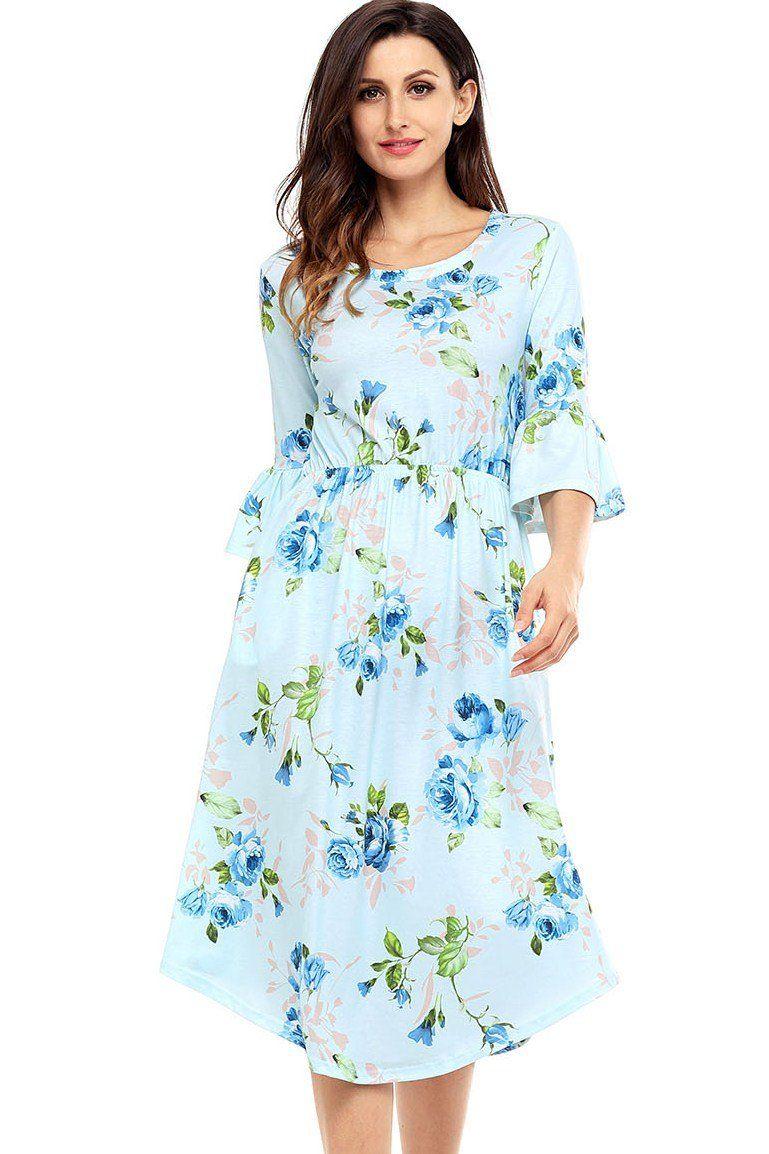 Light blue bell sleeve floral midi dress midi dresses light