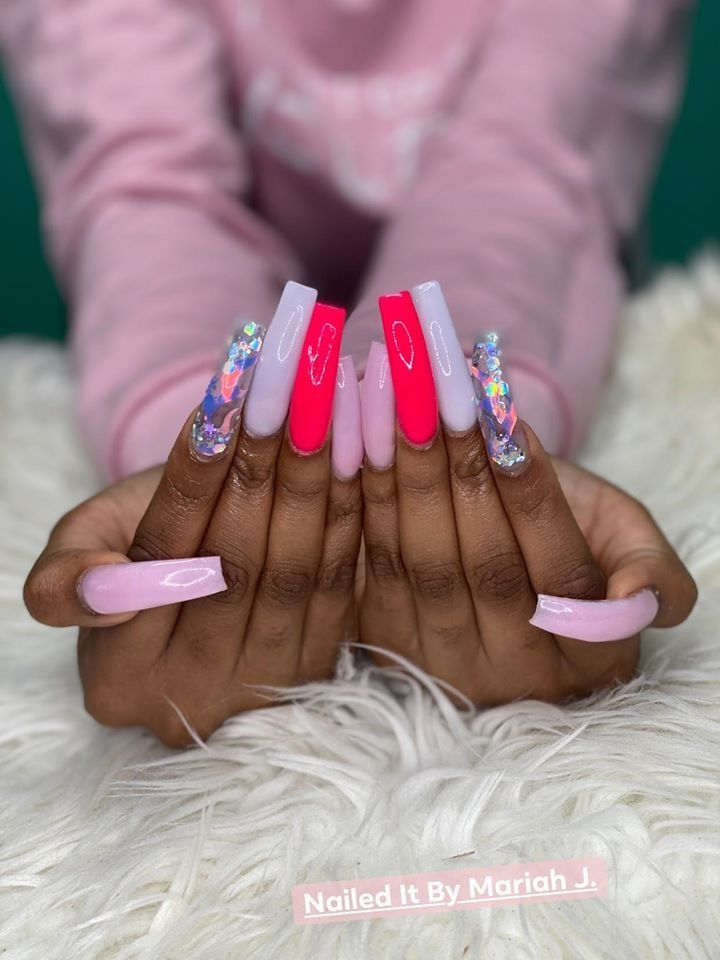 Pin By Aaliyah Bell On Nails In 2020 Long Square Acrylic Nails Bling Acrylic Nails Colored Acrylic Nails