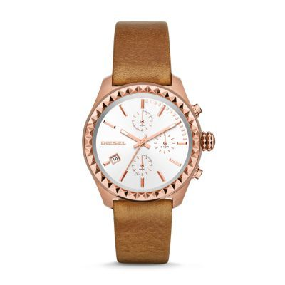 Kray Kray Series Chronograph Leather Watch - Brown The brown leather bracelet, rose gold-tone etched topring and white sunray dial add edge to the Diesel Kray Kray watch.