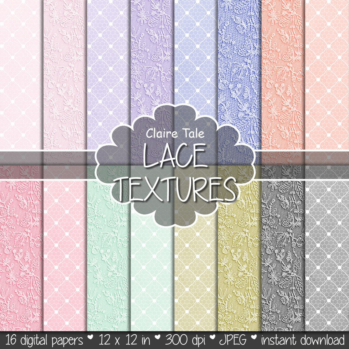 Scrapbook paper lace - Lace Digital Paper Lace Textures With Pink Lavender Purple Blue Coral Red Mint