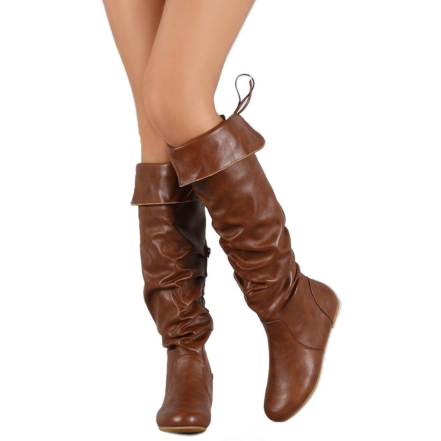 e57519c472eb ShoBeautiful Women s Knee High Flat Boots Drawstring Cupped Totes Over The Knee  Boots   Want to