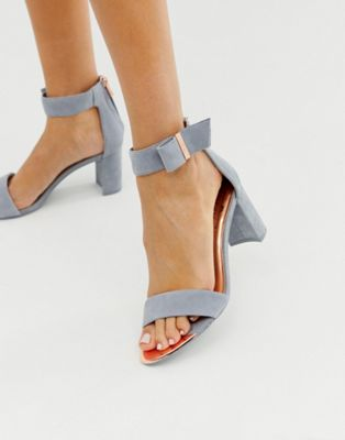 Ted Baker gray suede barely there block
