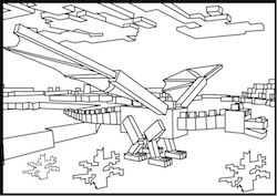 Minecraft Ender Dragon In The Desert Coloring Page Dessins