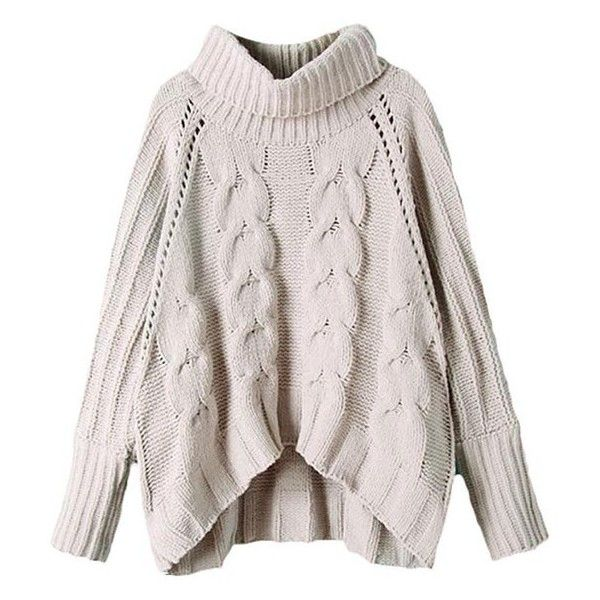 6332279aa9750 Orion Rolled Neck Chunky Cable Knit Jumper found on Polyvore featuring  tops