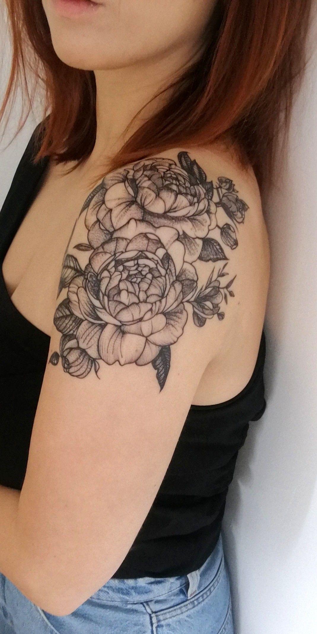 Peony tattoo shoulder cap | Peonies tattoo Rose shoulder ...