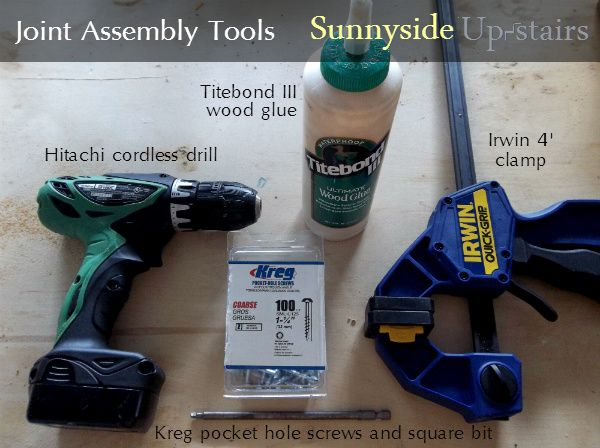 Sunnyside Up-stairs: Pocket hole joint assembly tools