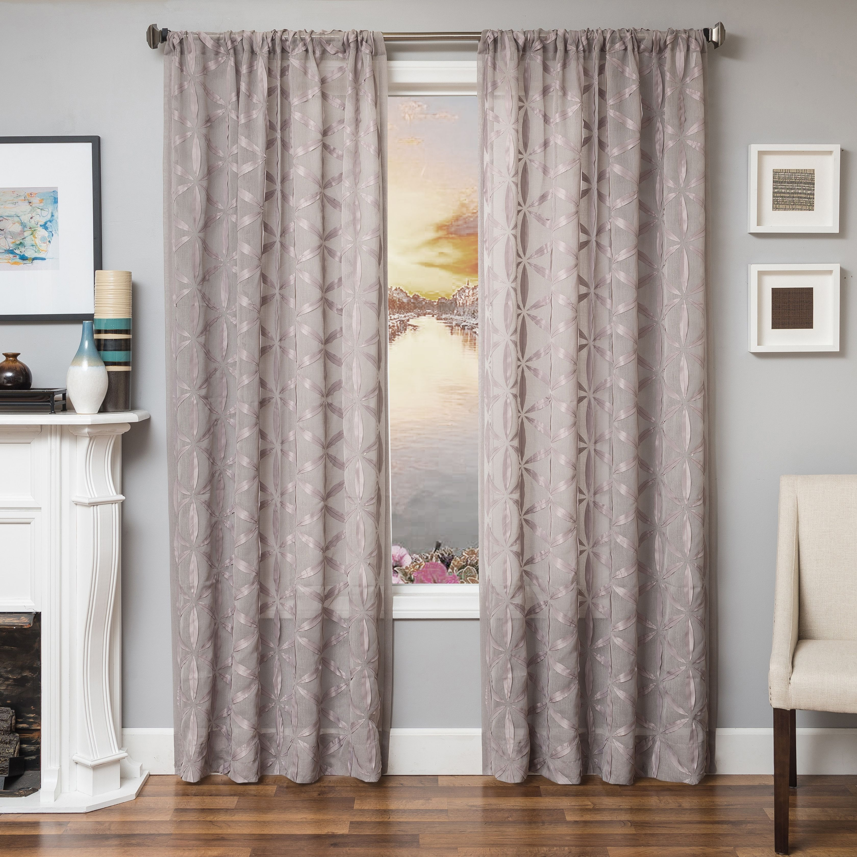 Celestia 96 Sheer Panel Curtain Gray Living Room D