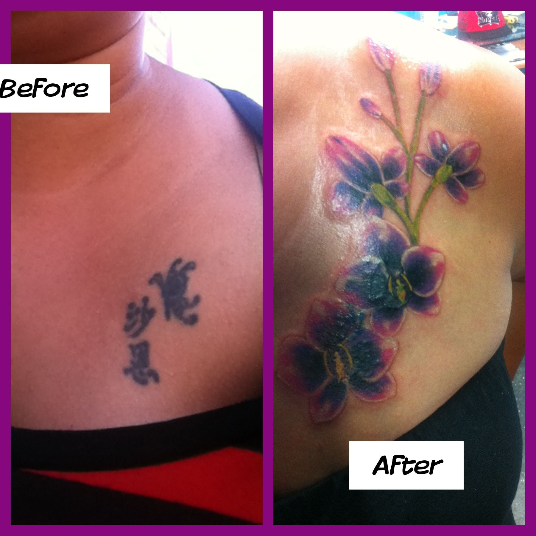 Beautiful Orchids Tattoo To Cover Up My 12 Year Old Chinese Symbol