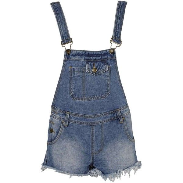 Boohoo Lacie Mid Stone Wash Dungaree Playsuit (£24) ❤ liked on Polyvore featuring jumpsuits, rompers, shorts, bottoms, jumpsuit, overalls, blue romper, romper jumpsuit, jumpsuit overalls and open-back rompers