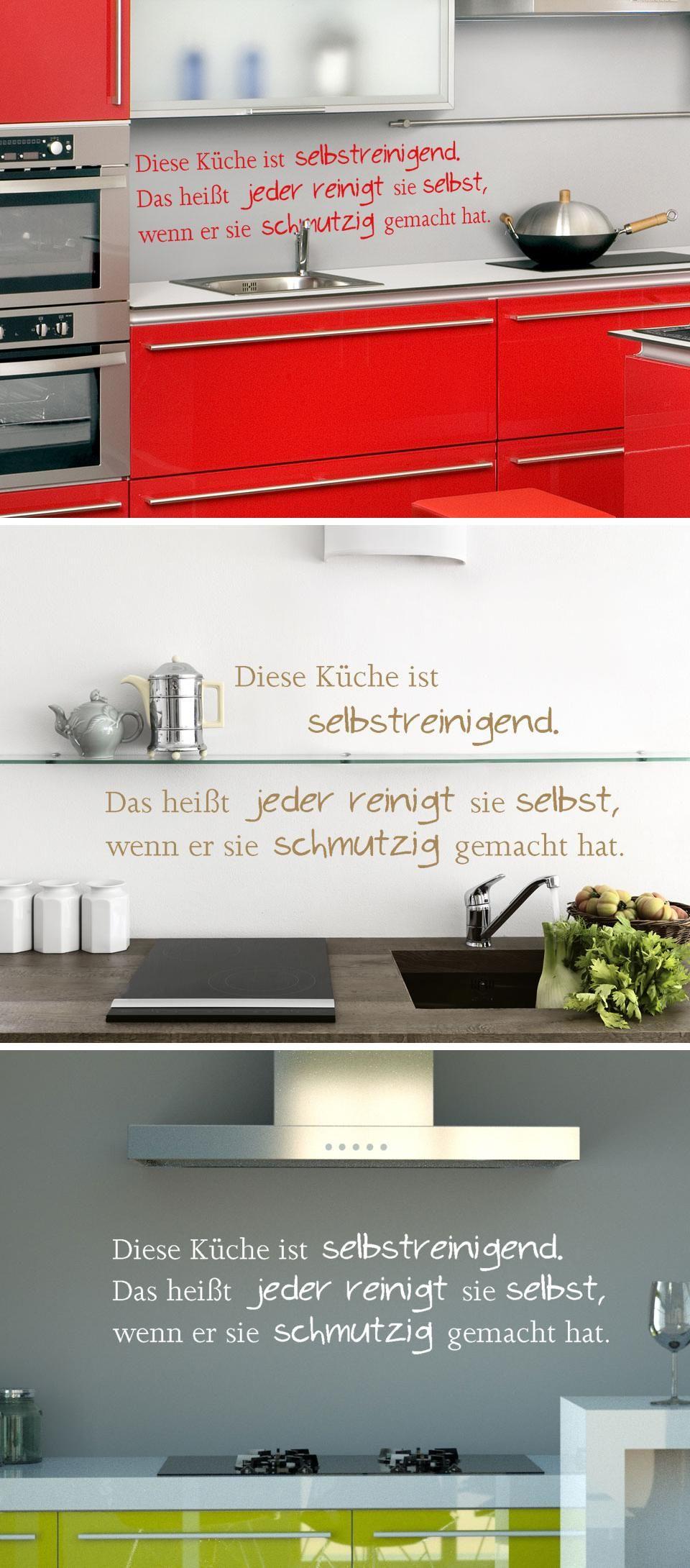 Selbstreinigende Küche   Wandtattoo Sprüche & Weisheiten ...