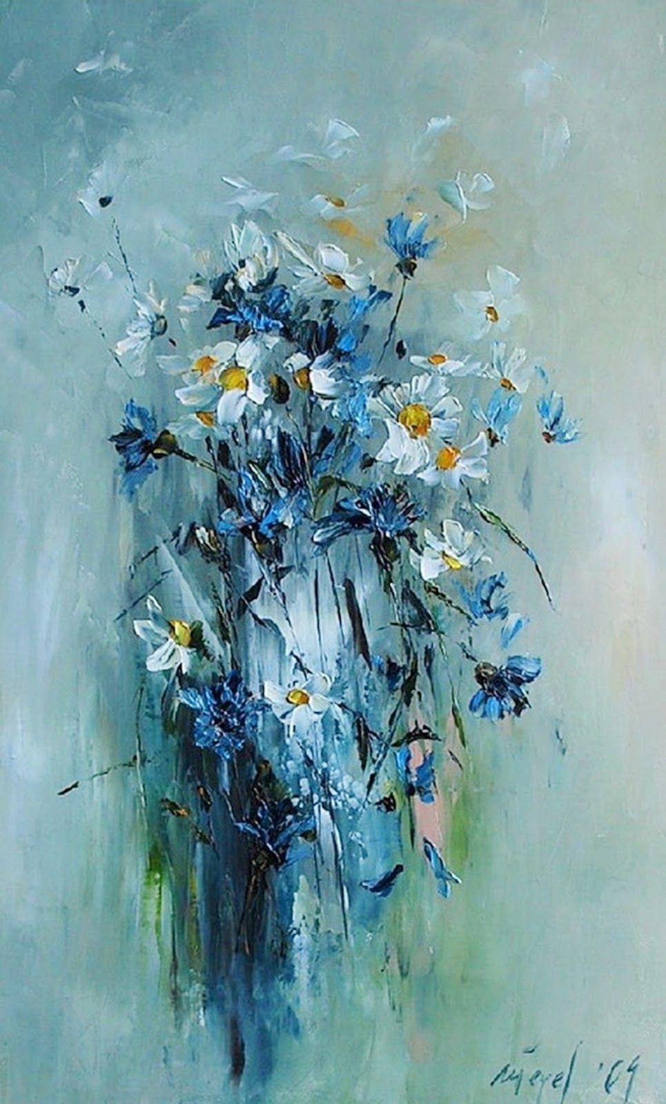 Pintura moderna al oleo flores muebles de casa - Cuadros flores modernas ...