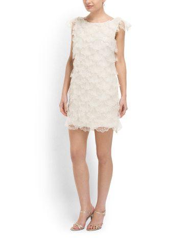 Cap Sleeve Beaded Shift Dress   great for a reception dress