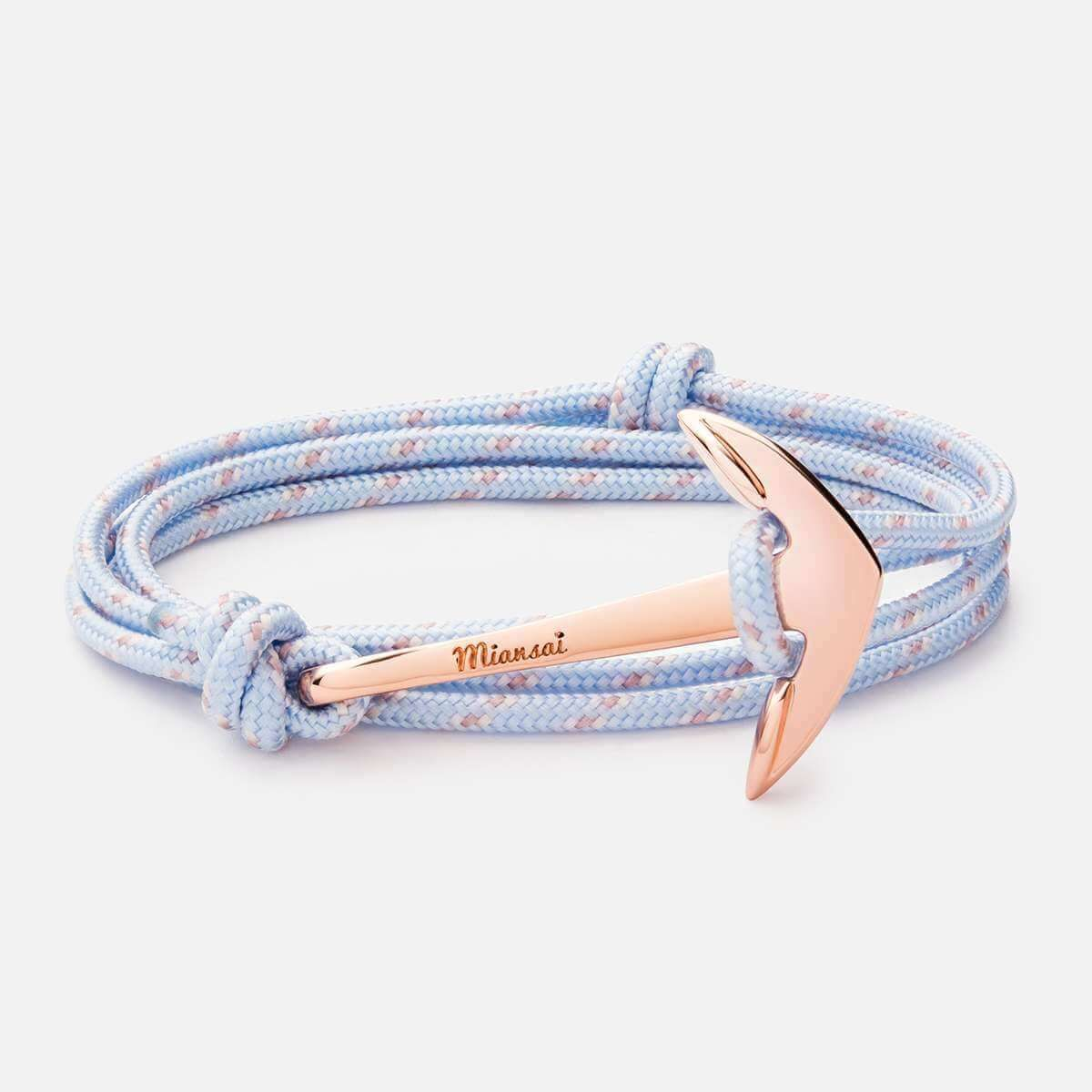 Anchor on pastel rope bracelet rose goldplated miansai anchor