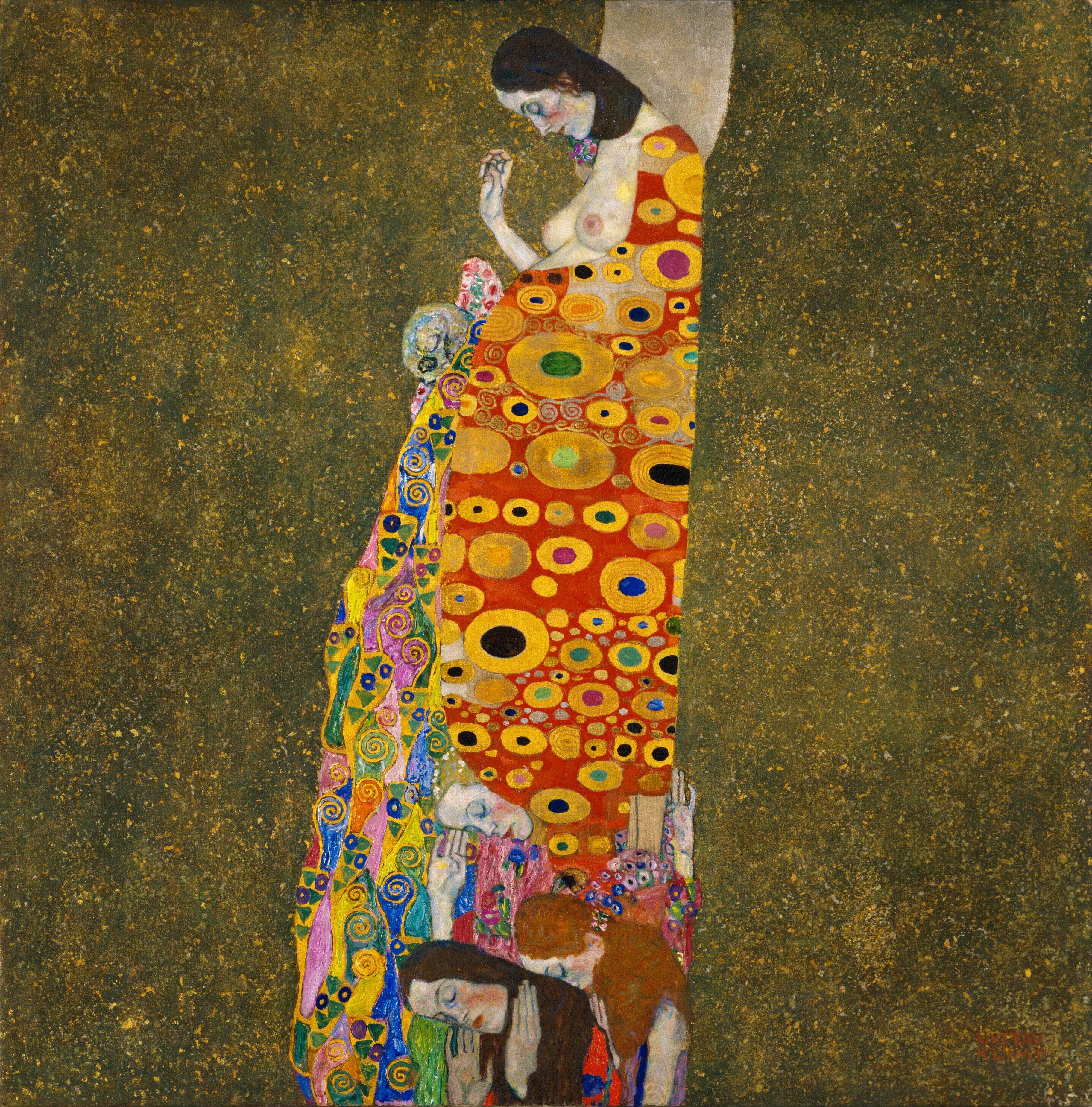 Gustav Klimt - Hope, II (1907 - 1908) - Oil, gold, and platinum on ...