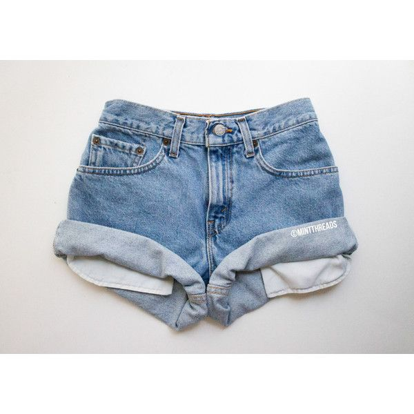 All Sizes Vintage High Waisted Denim Shorts High Waisted Shorts All... (£12) ❤ liked on Polyvore featuring shorts, bottoms, blue, women's clothing, denim cut-off shorts, high-waisted jean shorts, distressed high waisted shorts, jean shorts and distressed jean shorts