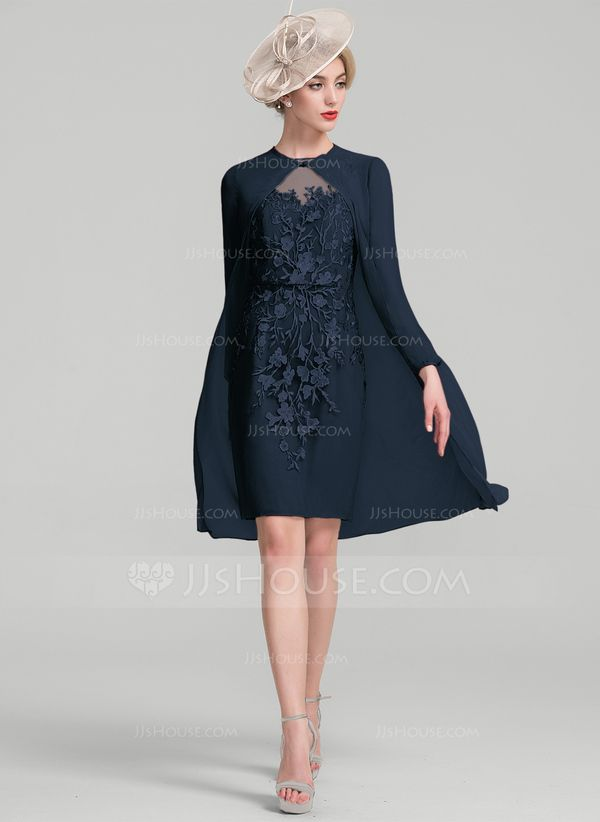 0de2da1dd8b Sheath Column Scoop Neck Knee-Length Chiffon Lace Mother of the Bride Dress  With Beading Sequins