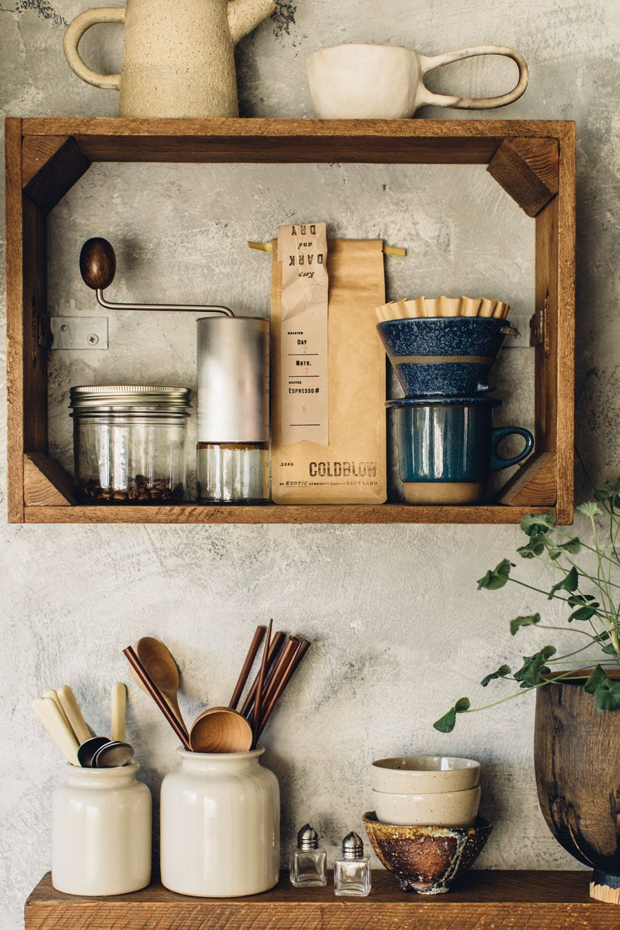 Up cycled kitchen shelves