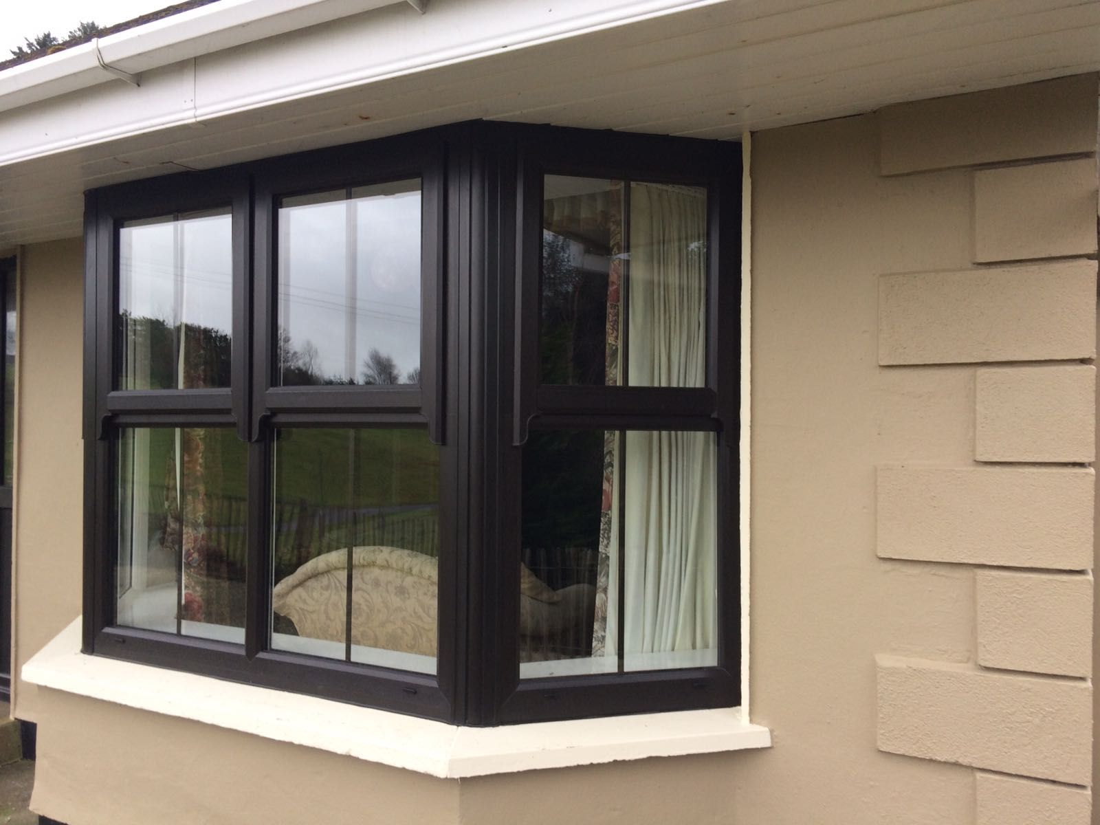 mock sash window with georgian bar in black our window. Black Bedroom Furniture Sets. Home Design Ideas