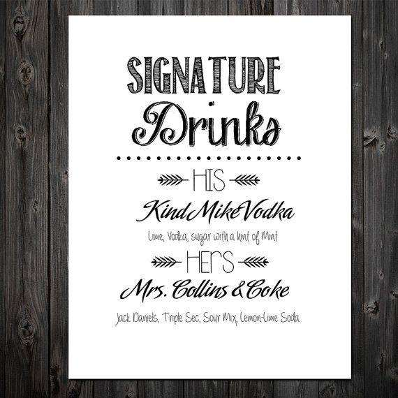 Customizable His and Hers Signature Cocktails, Printable Bar Sign - fresh invitation wording reception