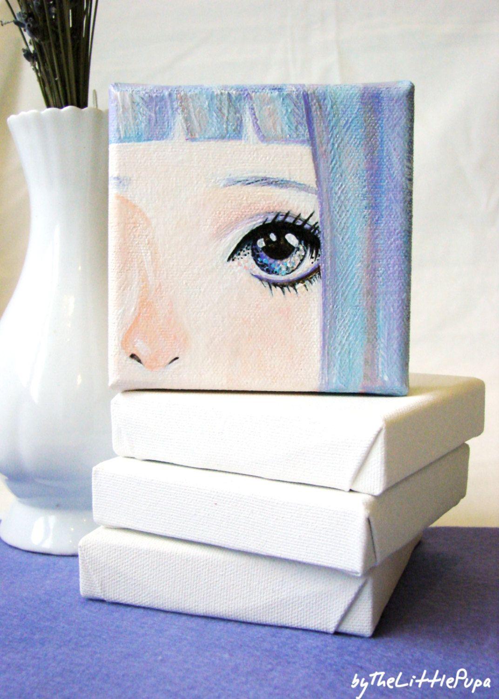 Mini Canvas Art Kawaii Acrylic Painting Doll Face Picture Anime