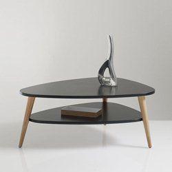 Table basse vintage double plateau coloris noir jimi salon salle mange - Table basse vintage double plateau ...