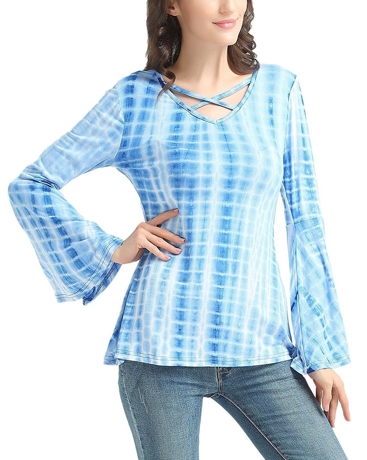 Ombre blue button down shirt womens