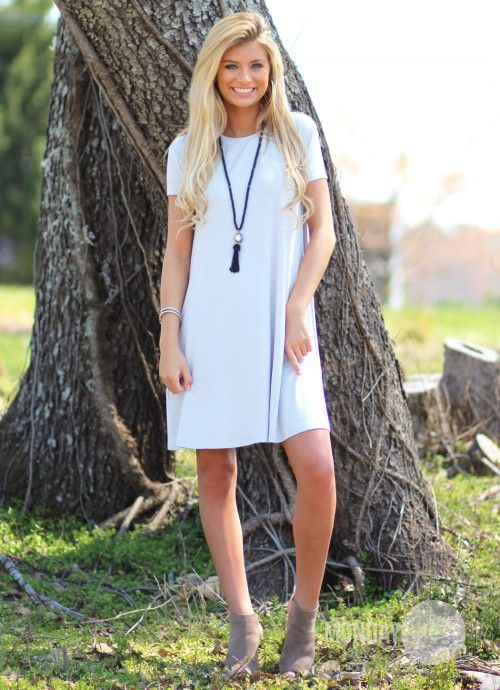 PIKO Kiss Tomorrow Goodbye Dress in Gray | Monday Dress Boutique